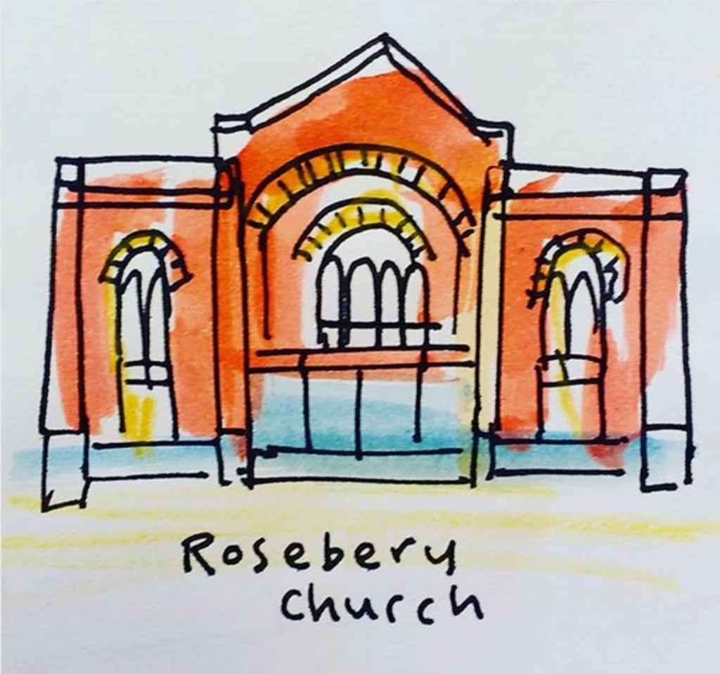 illustration of church building by Tim Smart