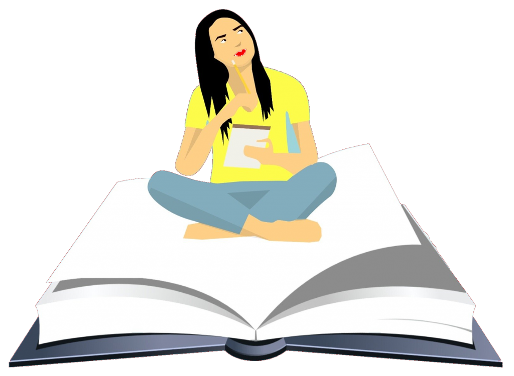 woman sat crossed leg on a large open book