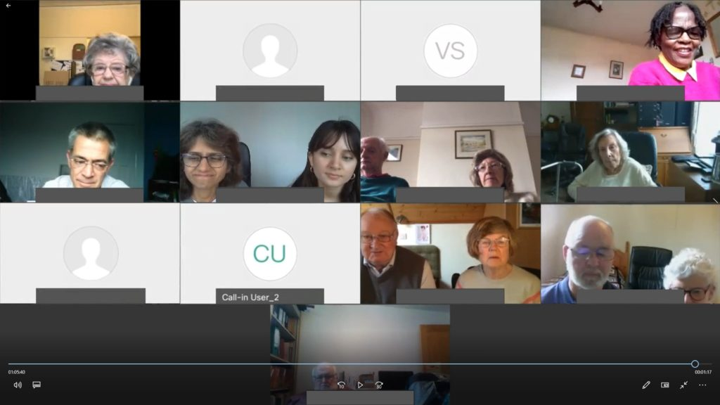 screen grab of church service on Webex