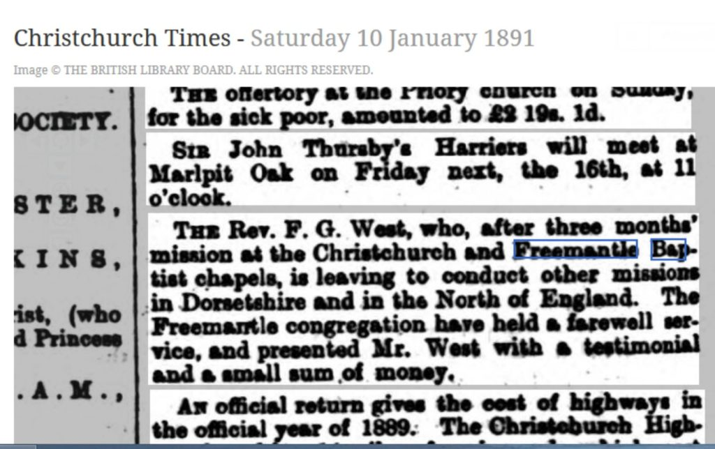 article about Freemantle Baptist Chapel minister leaving 1891