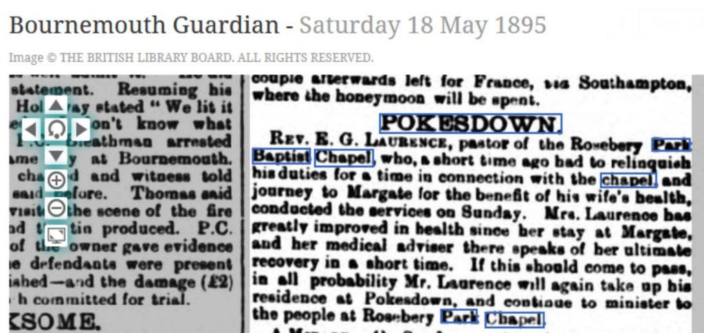 Rosebery Park Baptist Chapel Pokesdown 1895 newspaper article