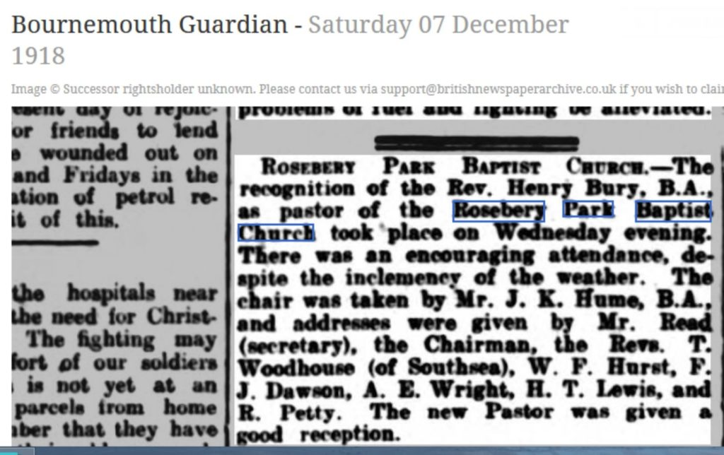 Bournemouth Guardian 1918 Henry Bury recognised as pastor RPBC