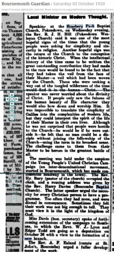 Bournemouth Guardian 1920 modern thought sermon