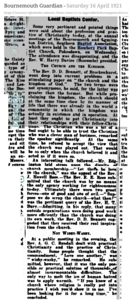 Bournemouth Guardian 1921 article on Southern Baptist Association meeting