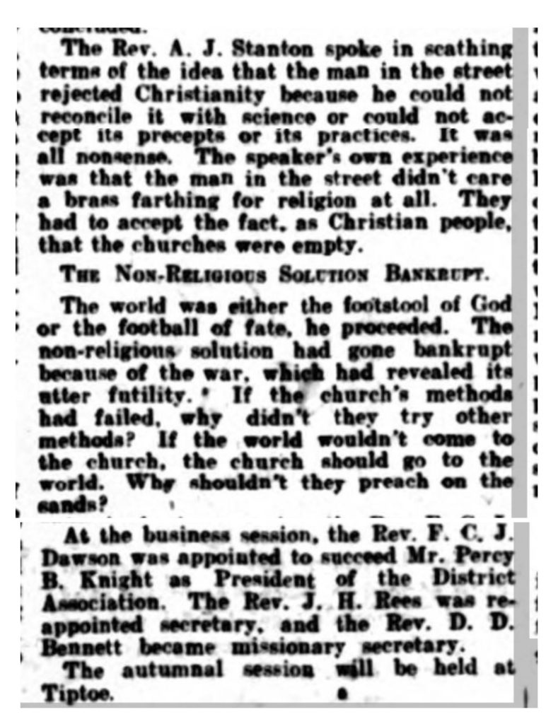Bournemouth Guardian 1921 article on Southern Baptist Association meeting, part 2
