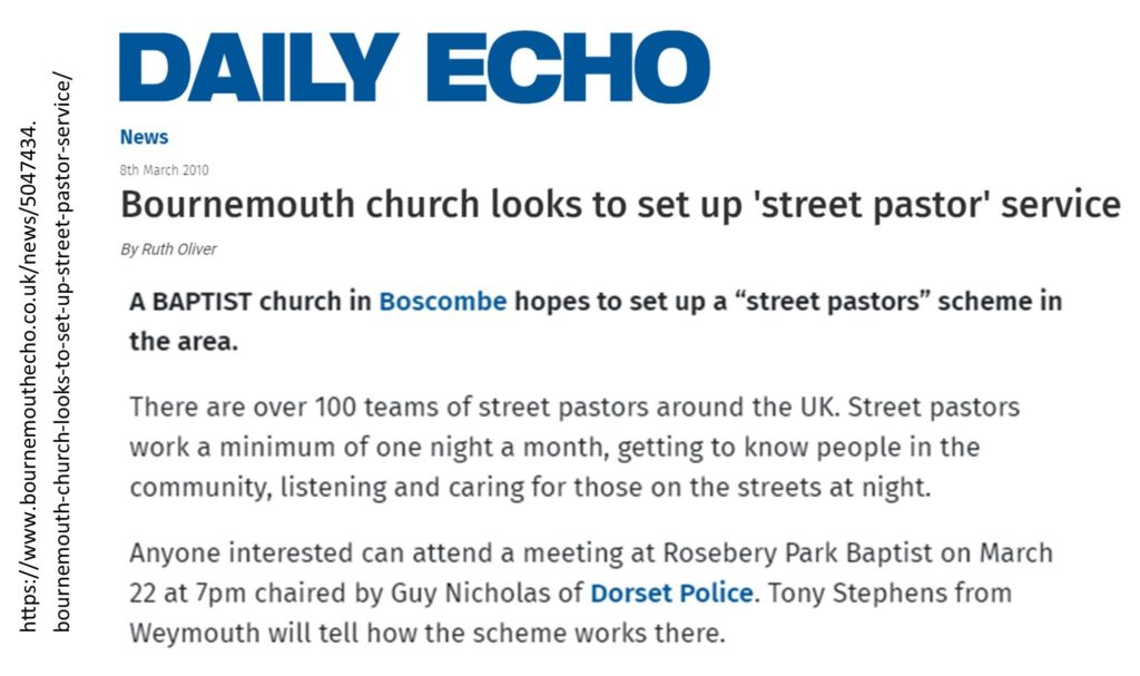 article in Bournemouth Daily Echo from 2010 about a meeting at Rosebery Park Baptist Church to discuss setting up a street pastors scheme