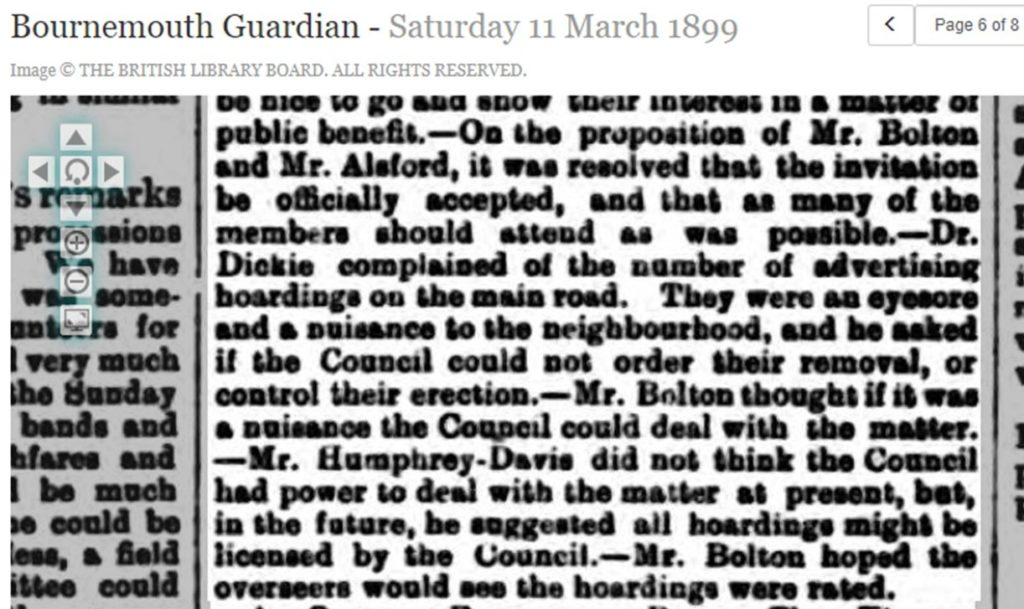 Bournemouth Guardian article complaint about hoardings 1899