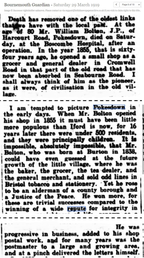Bournemouth Guardian article Pokesdown 1855 1919