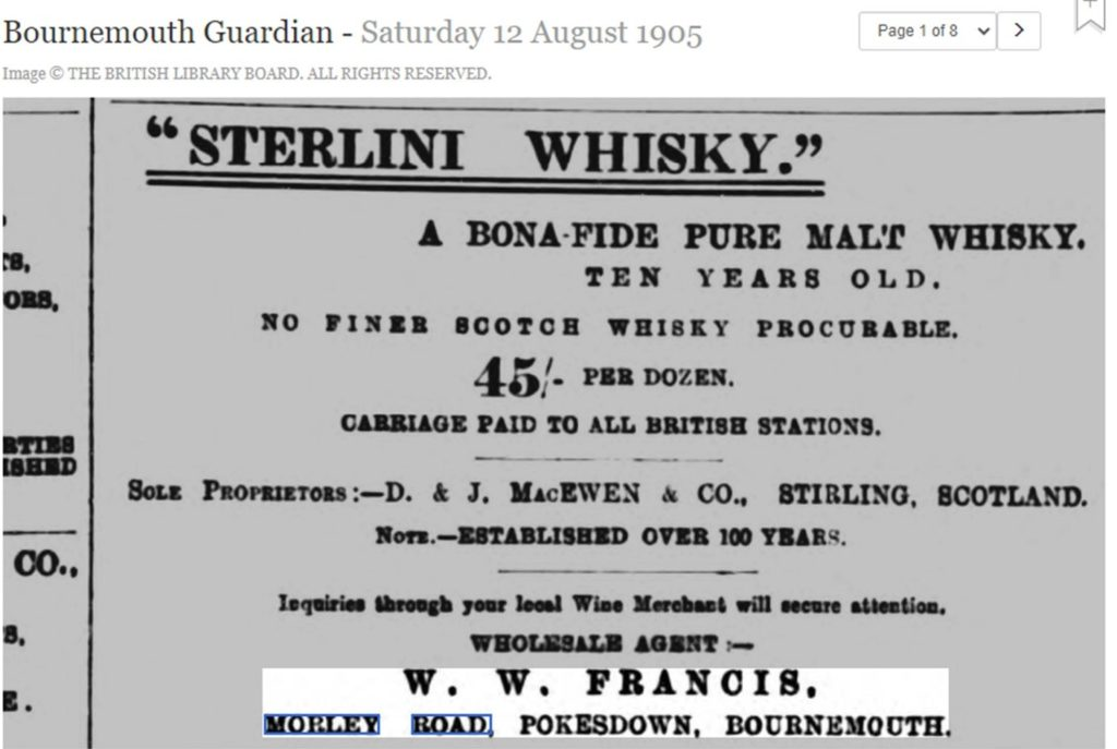 ad in Bournemouth Guardian for whisky sold at Morley Road