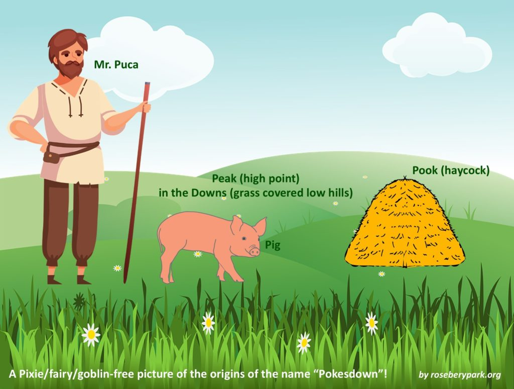 cartoon style picture of a farmer or peasant called Mr Puca, with a pig, a pook (dialect name for a haycock), standing on a peak (a high point) in the downs (which are grass covered low hills). The caption is: A Pixie/fairy/goblin-free picture of the origins of the name Pokesdown! by roseberypark.org
