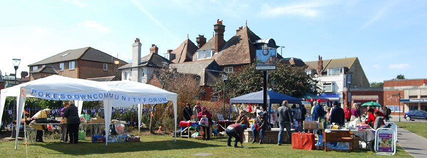 colour photo of stalls on Pokesdown Green for a fair, from April 2013