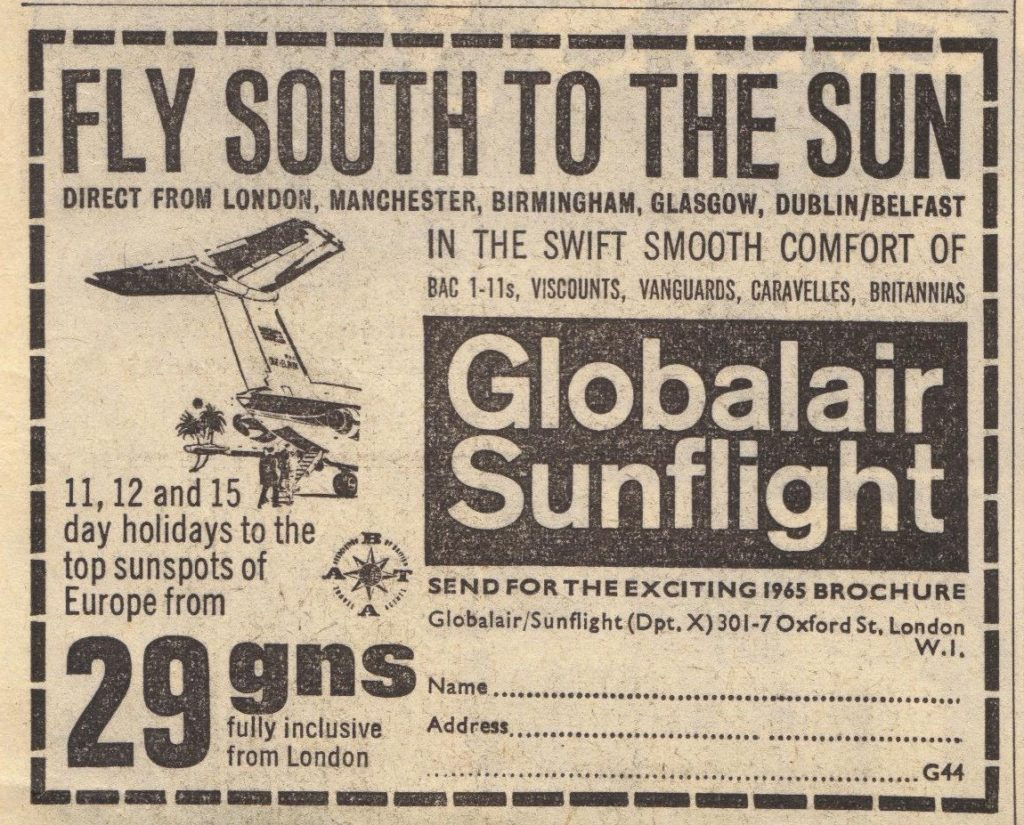 black and white newspaper advert for cheap air flights to Europe from 1965