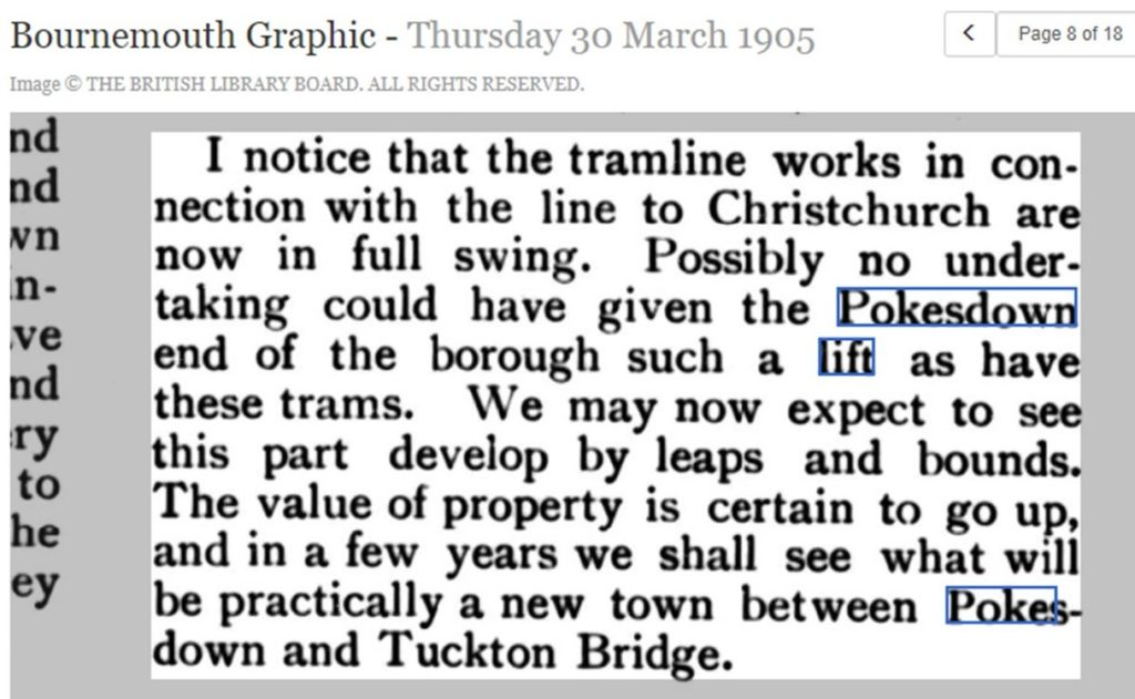 newspaper cutting from the Bournemouth Graphic in 1905, praising the extension of the tramway to Pokesdown