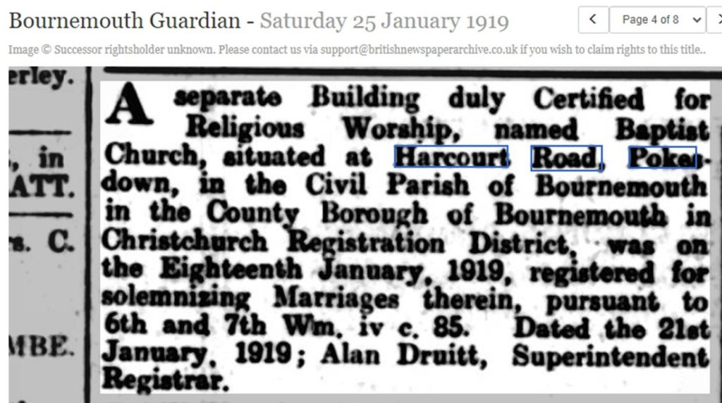 newspaper article in Bournemouth Guardian, 1919, saying the Baptist church in Harcourt Road has been certified for religious worship