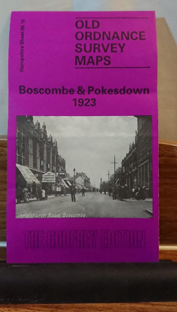 front cover of fold up map Boscombe and Pokesdown 1923, a black and white photo of Christchurch Road, Boscombe