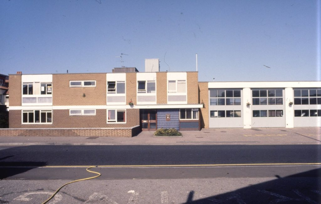 colour photo of a plain rectangle building, the new fire station, built in the mid 1970s
