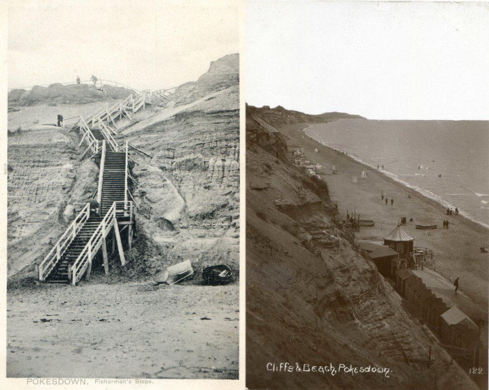 postcards showing a photo of Fisherman's Steps and Pokesdown Beach