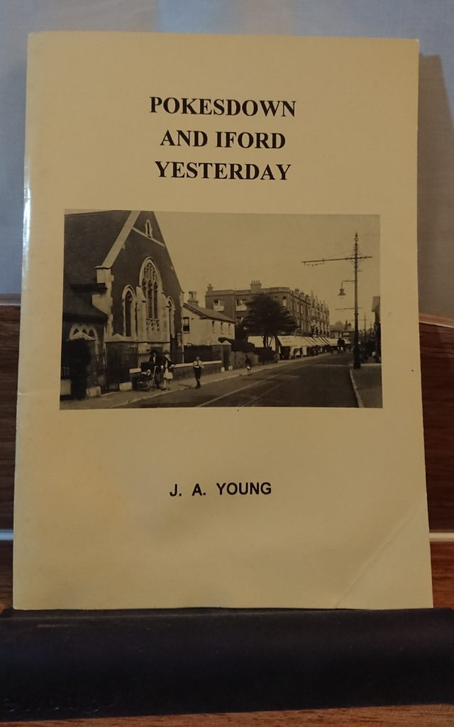 front cover of booklet Pokesdown and Iford Yesterday, a black and white photo of Southbourne Library