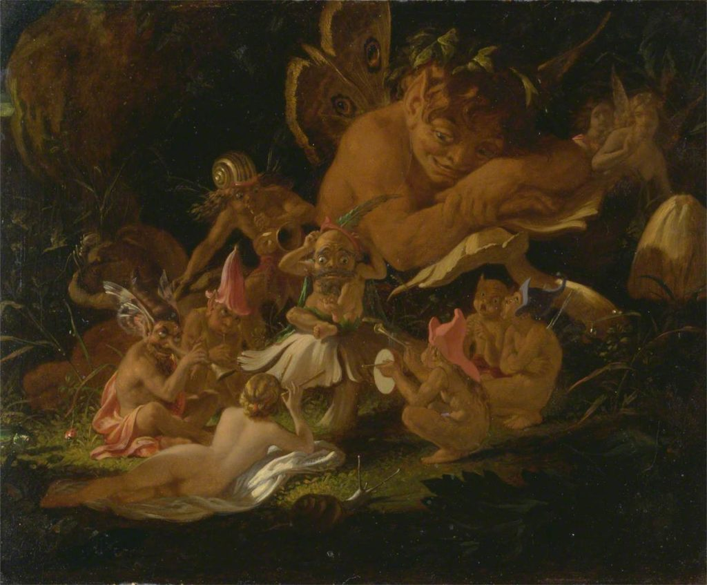 painting of Puck and fairies