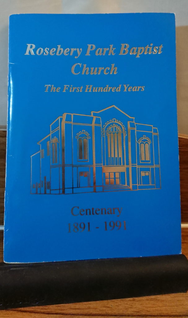 front cover of Rosebery Park Baptist Church First Hundred Years booklet
