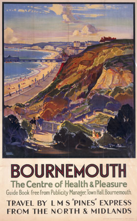 """1930s travel railway poster with colour painting of Bournemouth cliffs, beach and pier, text includes """"Bournemouth: The Centre of Health & Pleasure. Travel by LMS Pines Express"""""""