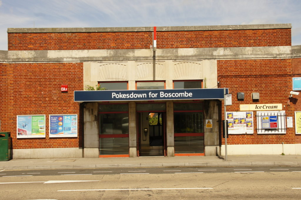 colour photo of sign outside Pokesdown for Boscombe station
