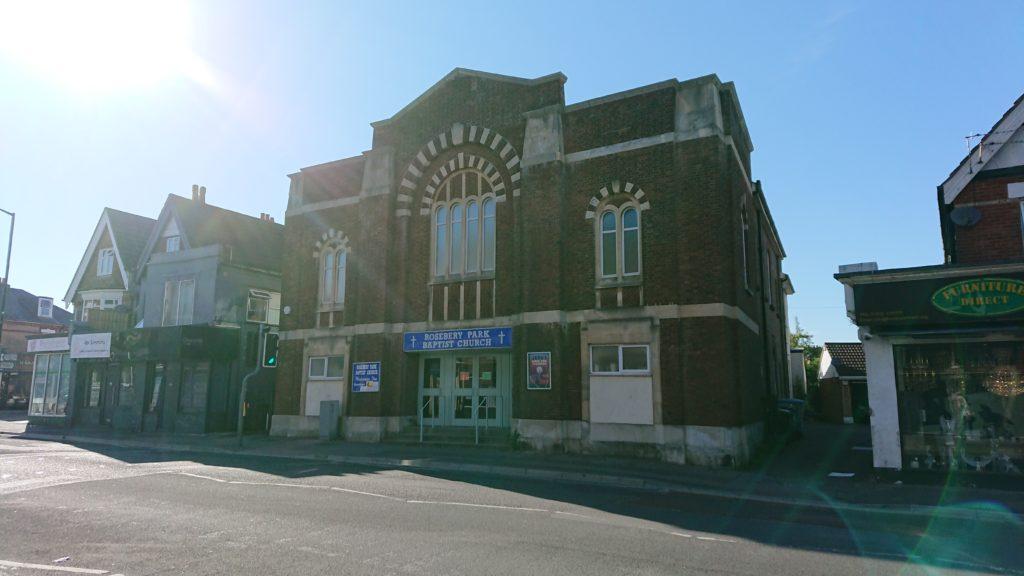 colour photo of Rosebery Park Baptist Church building in the sunshine, taken May 2021, Pokesdown