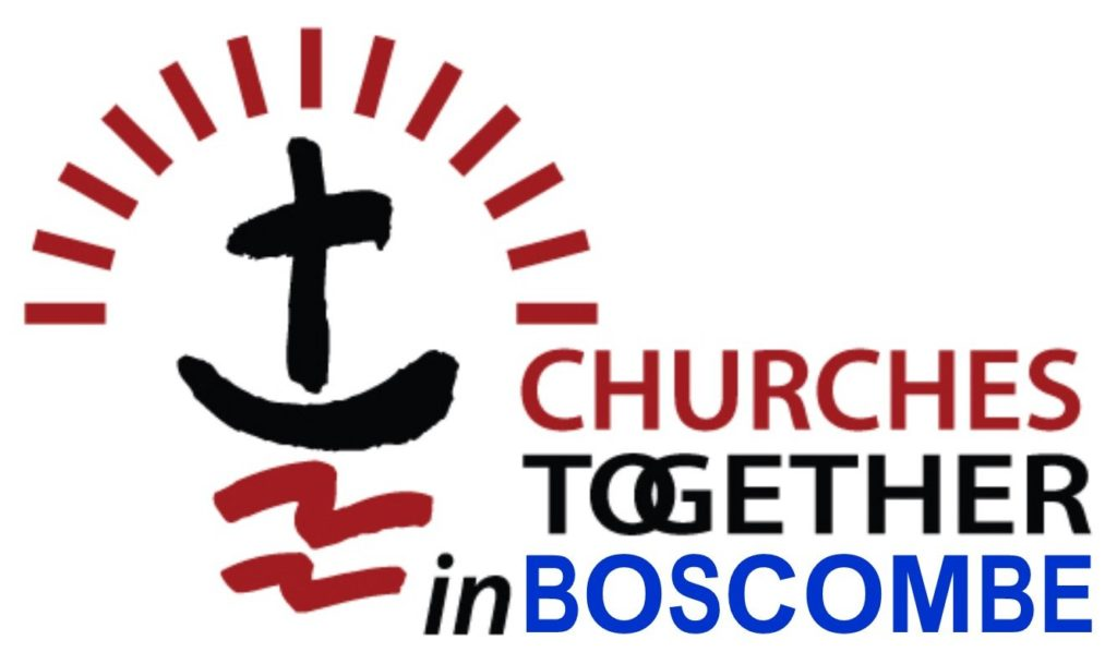 logo of cross and arch of lines above it with the words Churches Together in Boscombe
