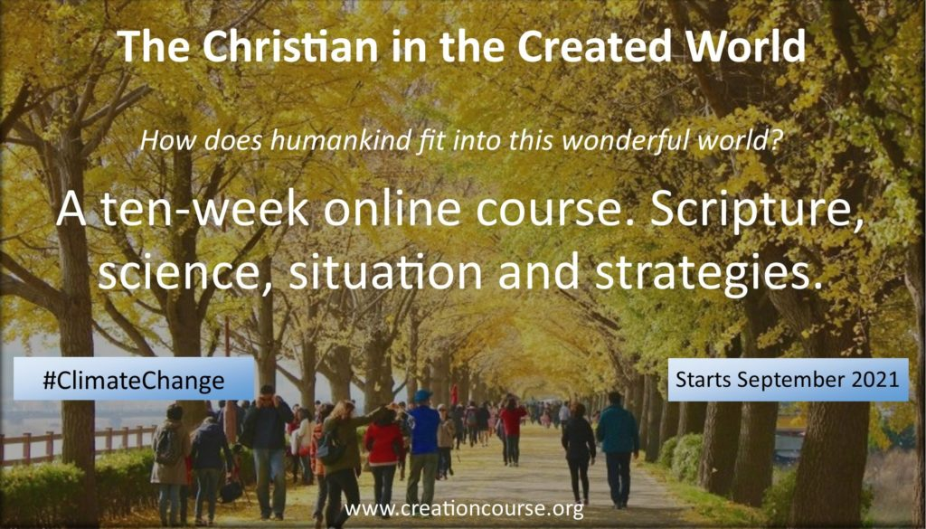 advert for the Christian in Creation climate change course September 2021