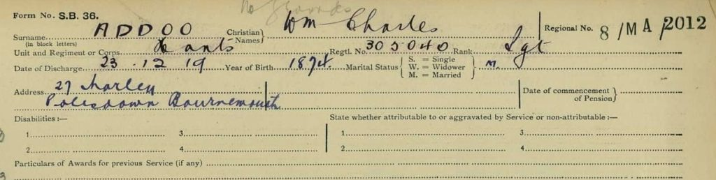 index card from the First World War naming Sergeant William Charles Addoo of 27 Morley Road, Pokesdown