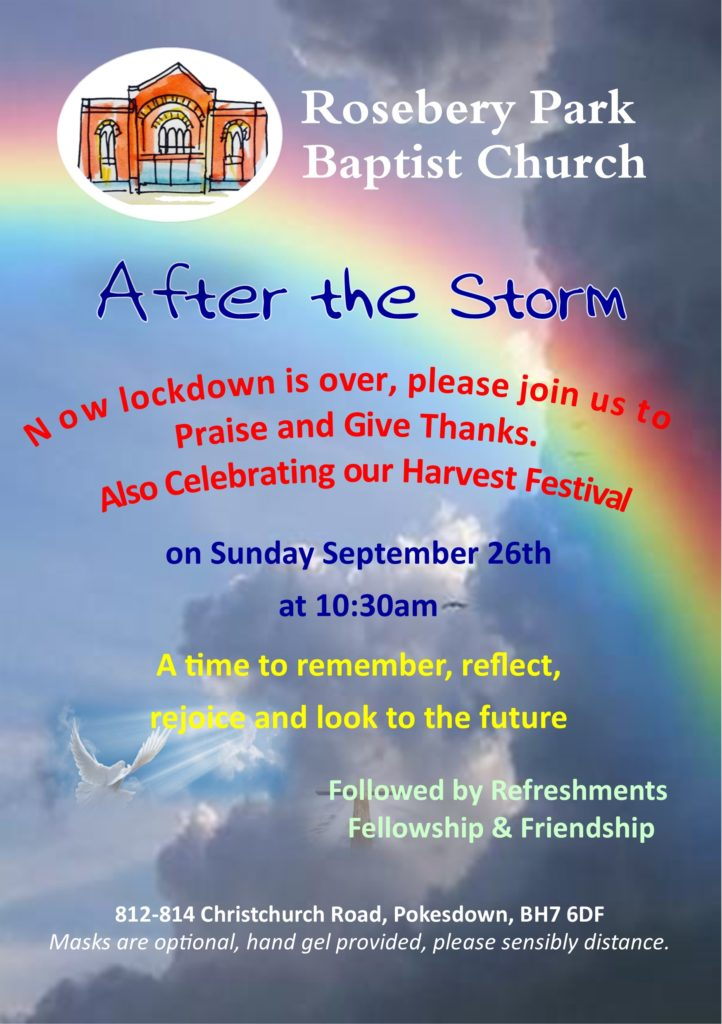 advert for special service called After the Storm on Sunday 26th September 2021
